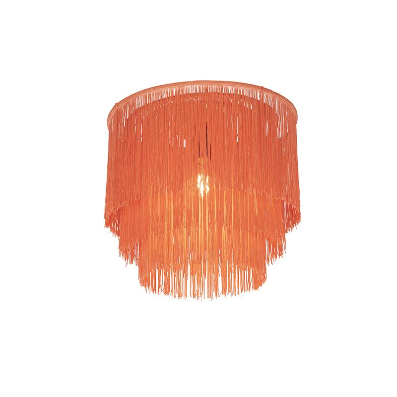 Oosterse plafondlamp goud roze kap met franjes - Franxa