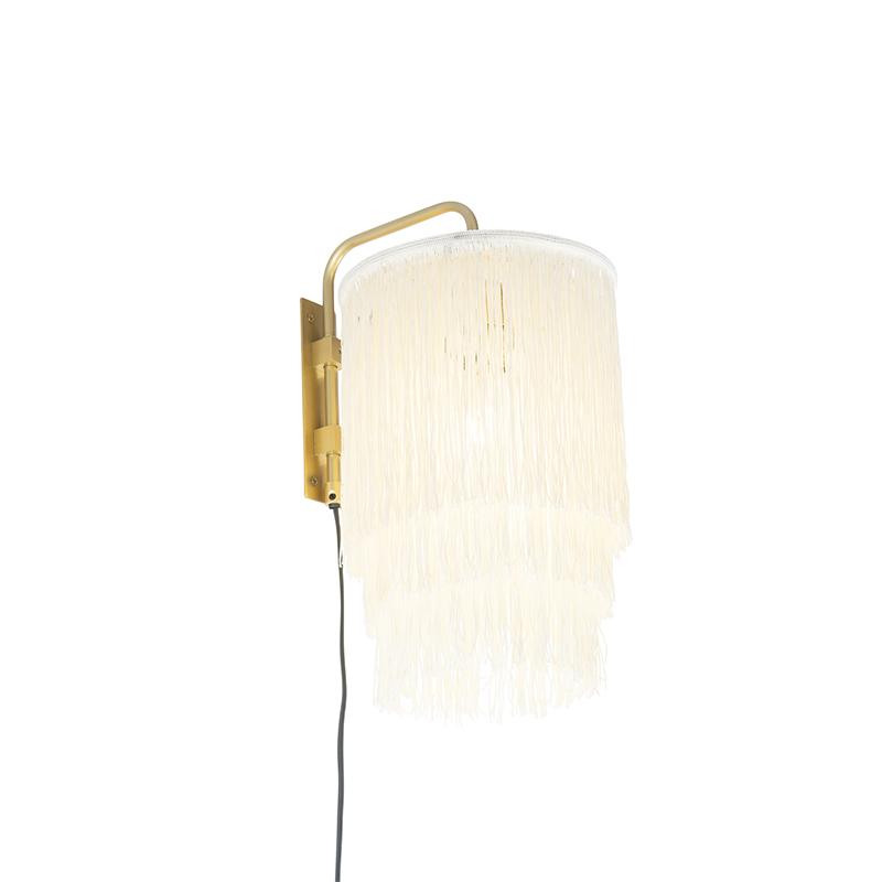 Oosterse wandlamp goud cr�me kap met franjes - Franxa