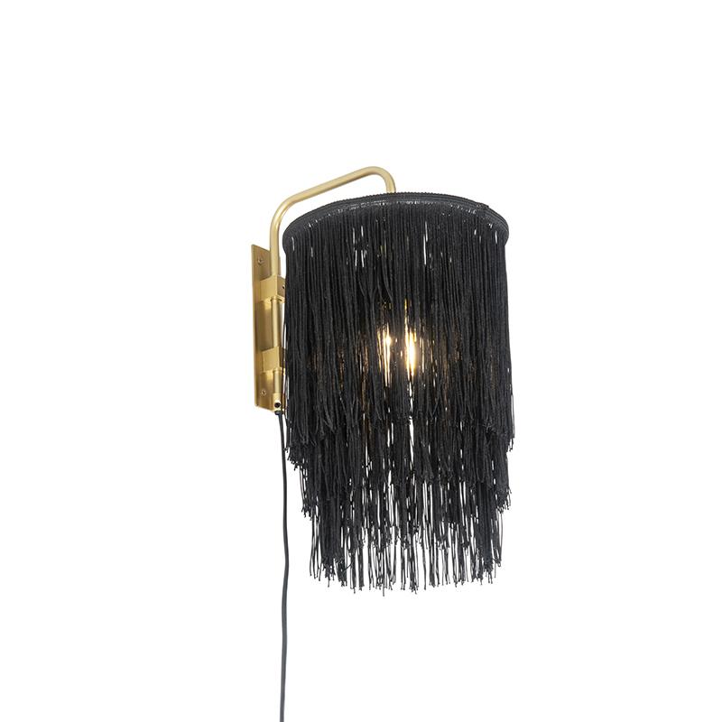 Oosterse wandlamp goud zwarte kap met franjes - Franxa