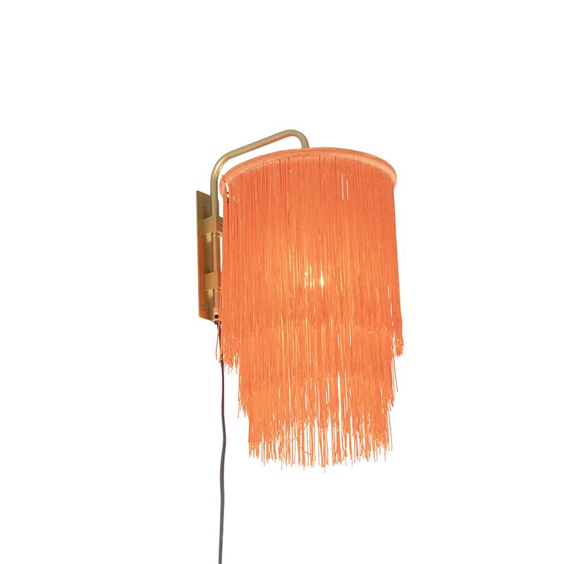 Oosterse wandlamp goud roze kap met franjes - Franxa