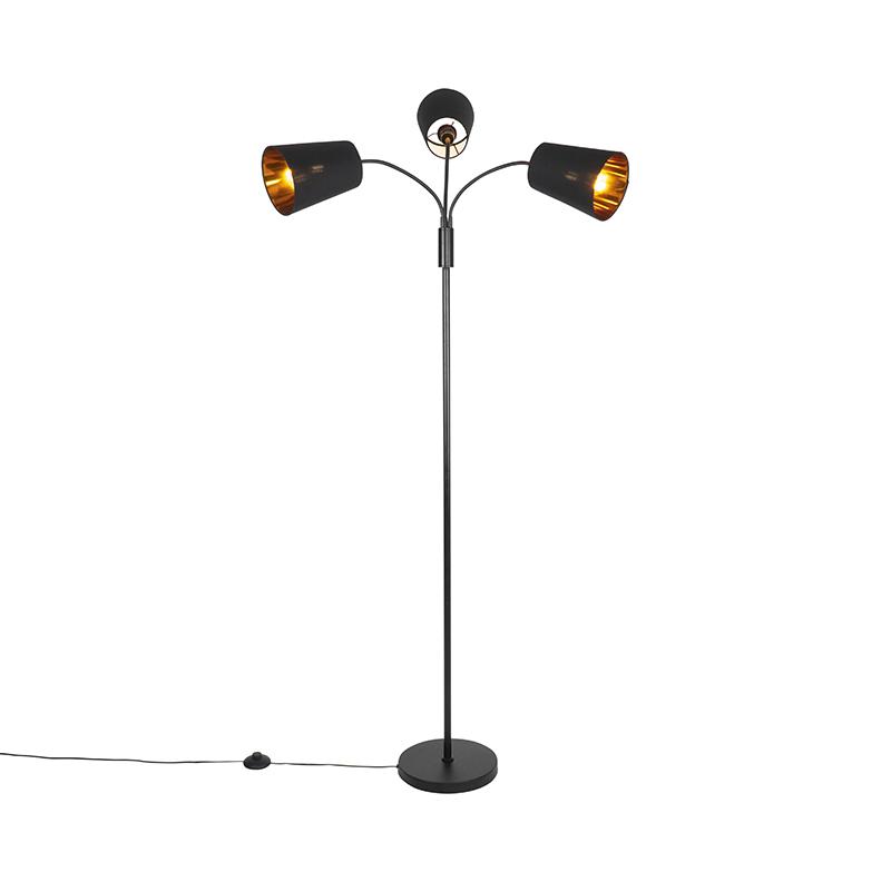 Moderne vloerlamp zwart 3-lichts - Carmen