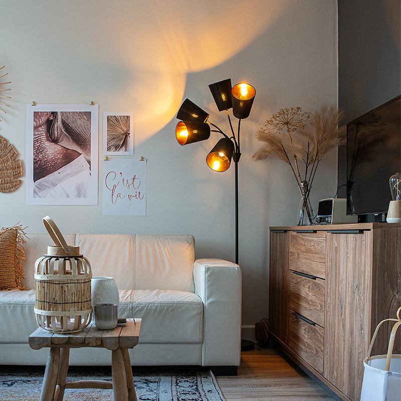 Moderne vloerlamp zwart 5-lichts - Carmen