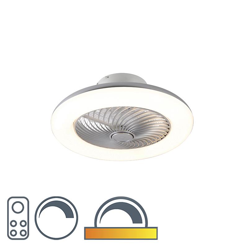 Design plafondventilator zilver dimbaar - Clima