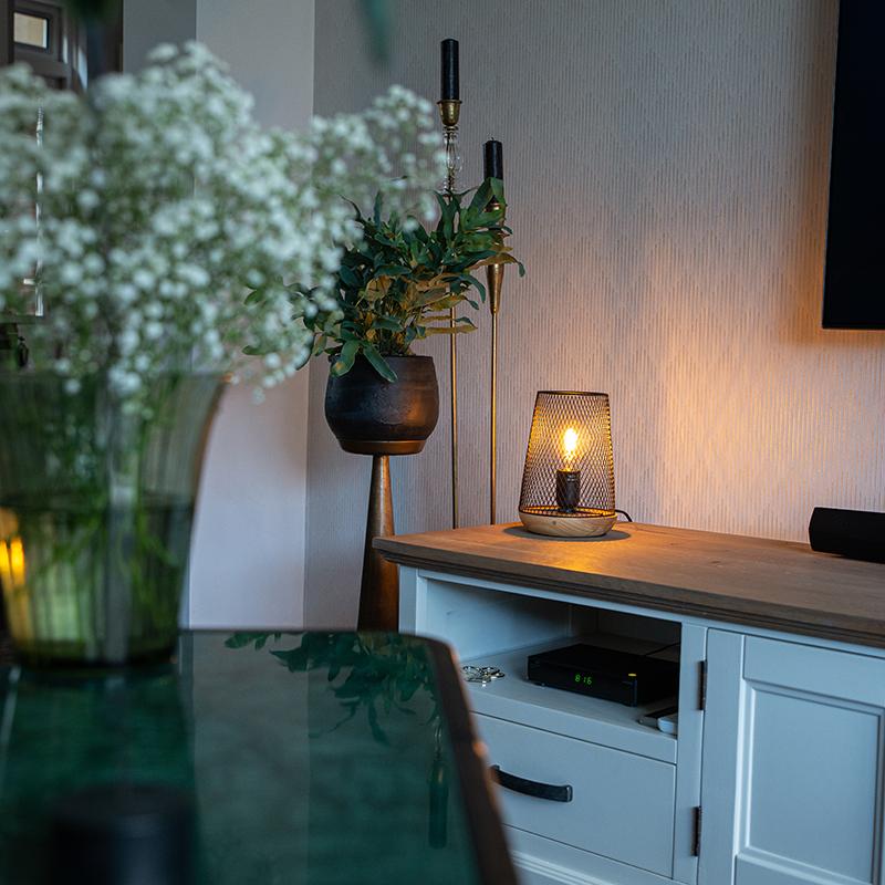 Design tafellamp zwart met hout - Bosk