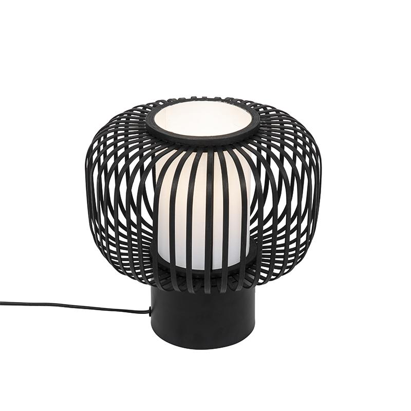 Landelijke tafellamp zwart met bamboe - bambuk