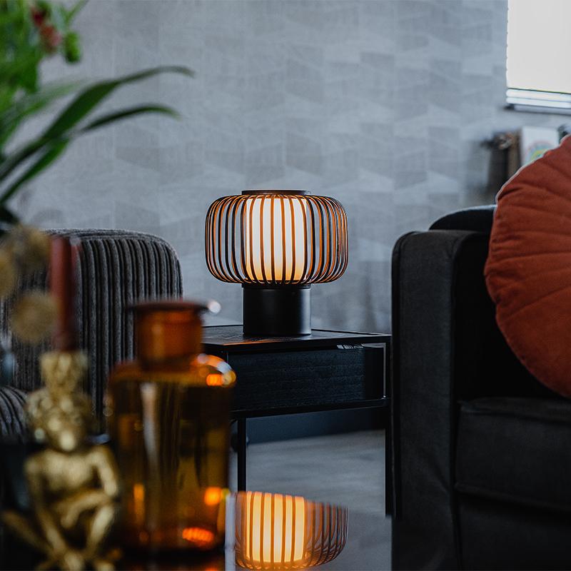 Moderne tafellamp zwart met bamboe - Bambuk