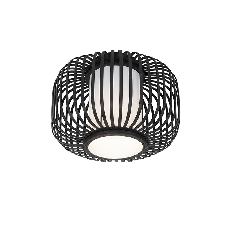 Moderne plafondlamp zwart met bamboe - Bambuk