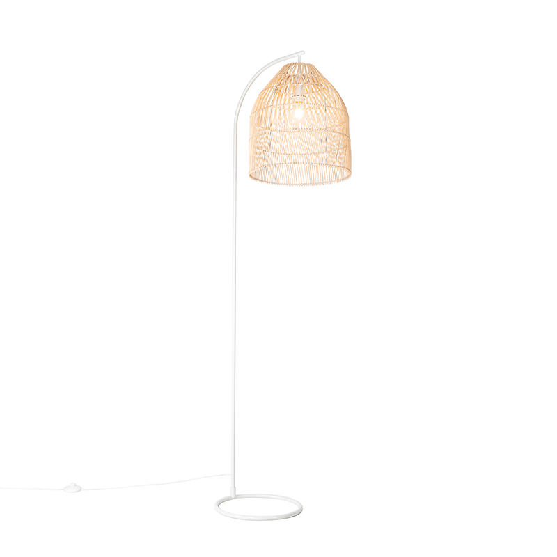 Landelijke vloerlamp wit met rotan - Sam