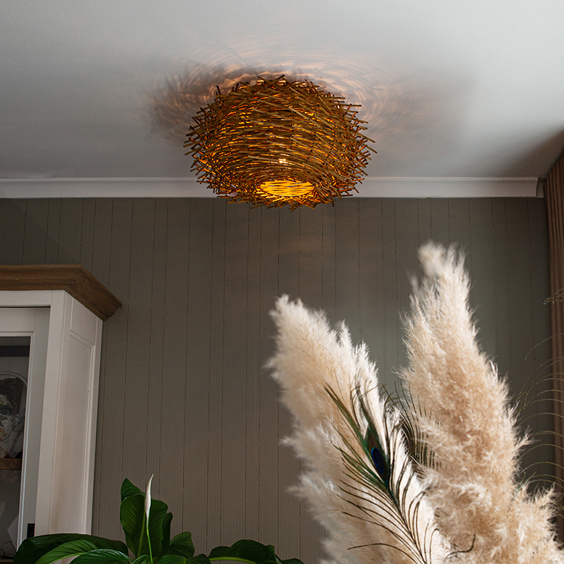 Landelijke plafondlamp rotan - Hatch