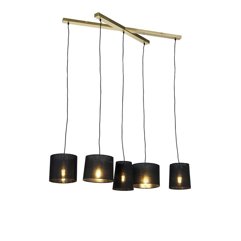 Landelijke hanglamp messing 5-lichts - Hermina