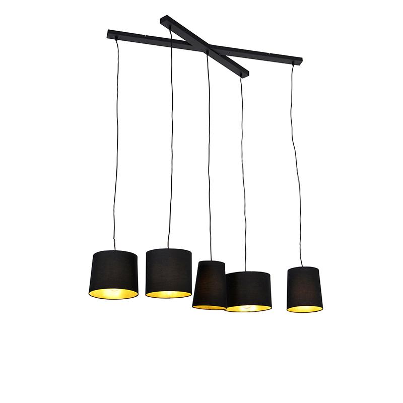 Landelijke hanglamp zwart 5-lichts - Hermina