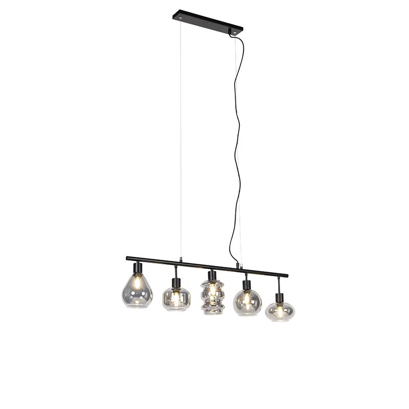 Art deco hanglamp zwart met smoke glas 5-lichts - Gil