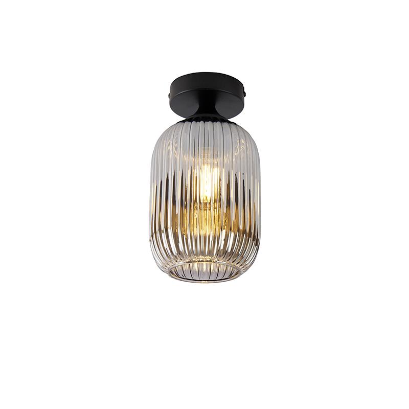 Art deco plafondlamp zwart met smoke glas - Banci