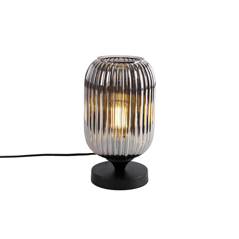 Art deco tafellamp zwart met smoke glas - Banci