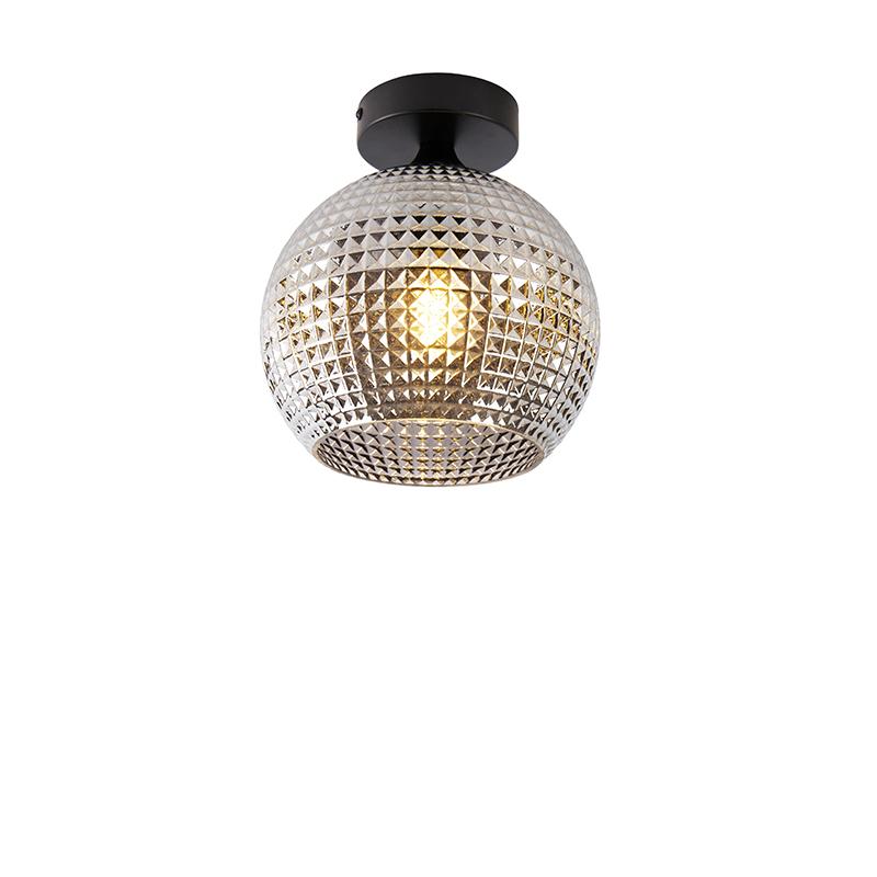 Art deco plafondlamp zwart met smoke glas - Sphere