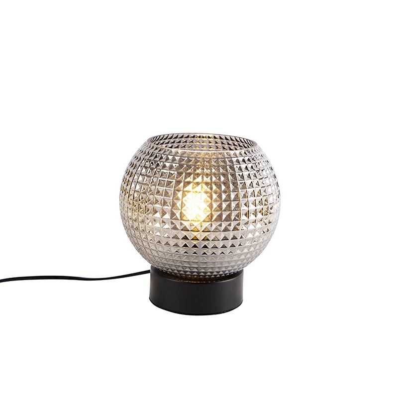 Art deco tafellamp zwart met smoke glas - Sphere