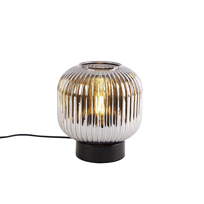 Art deco tafellamp zwart met smoke glas - Karel