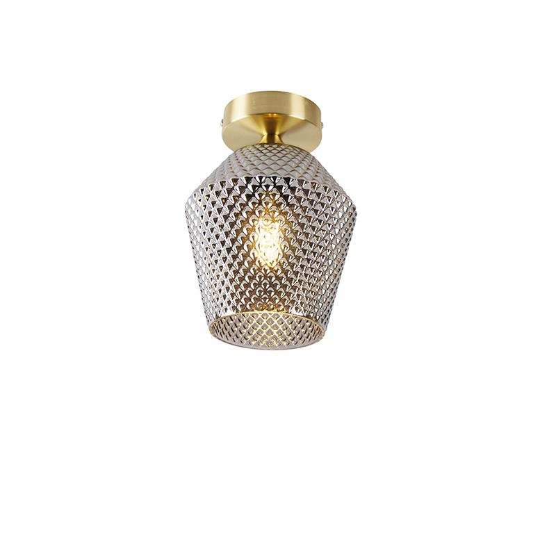 Art deco plafondlamp messing met smoke glas - Karce