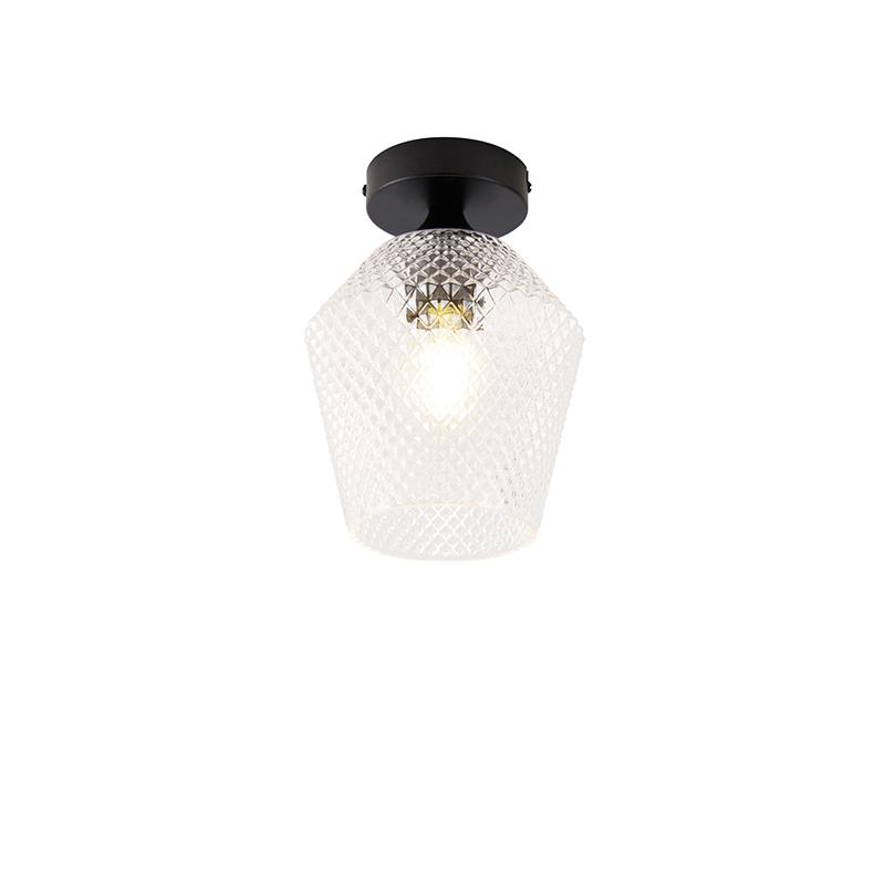 Art deco plafondlamp zwart - Karce