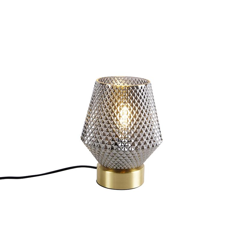 Art Deco tafellamp messing met smoke glas - Karce