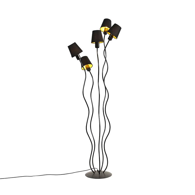 Design vloerlamp zwart met klempkap zwart 5-lichts - Wimme