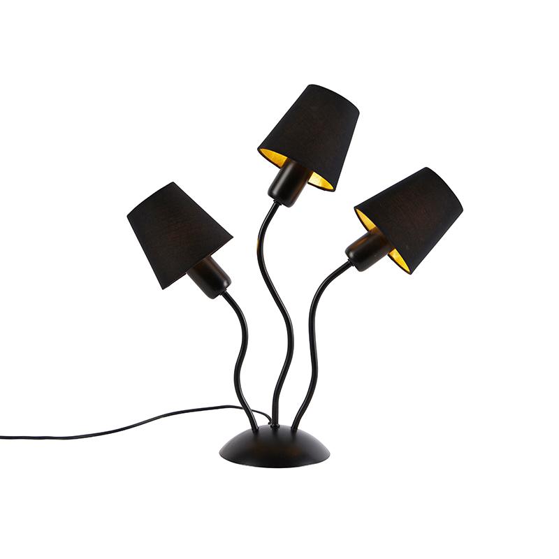 Design tafellamp zwart met klempkap zwart 3-lichts - Wimme