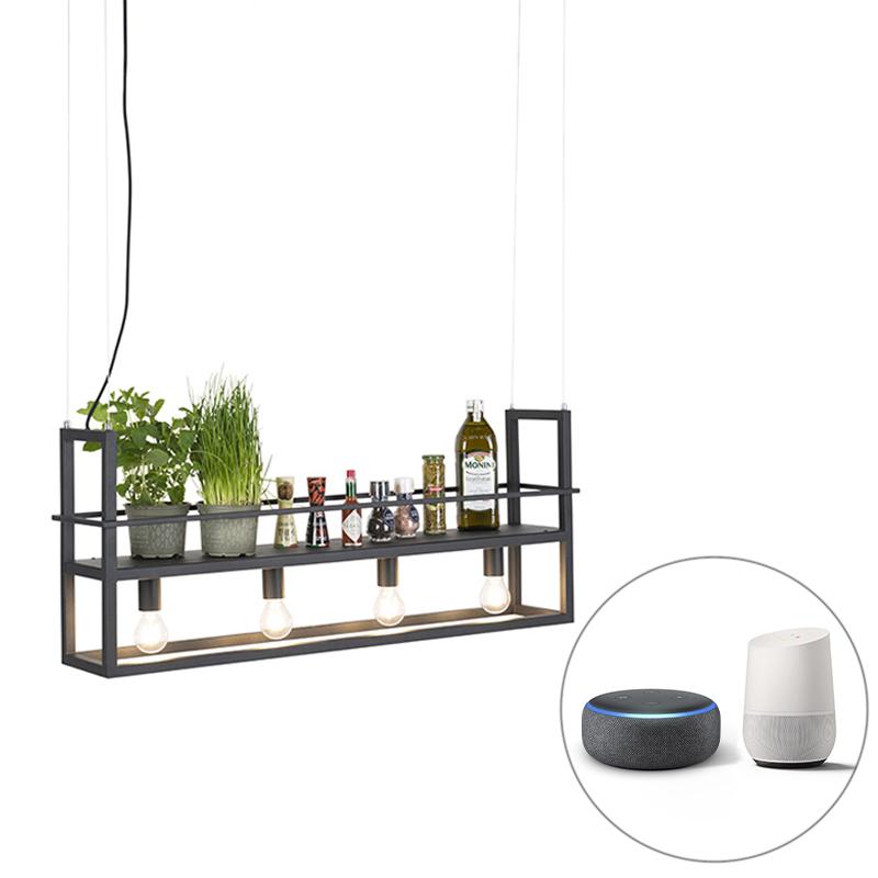 Smart hanglamp zwart incl. WiFi A60 lichtbronnen - Cage Rack