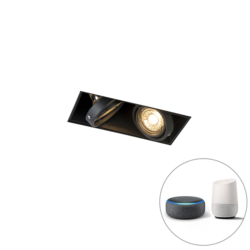 Smart inbouwspot zwart incl. 2 Wifi GU10 trimless - Oneon 2