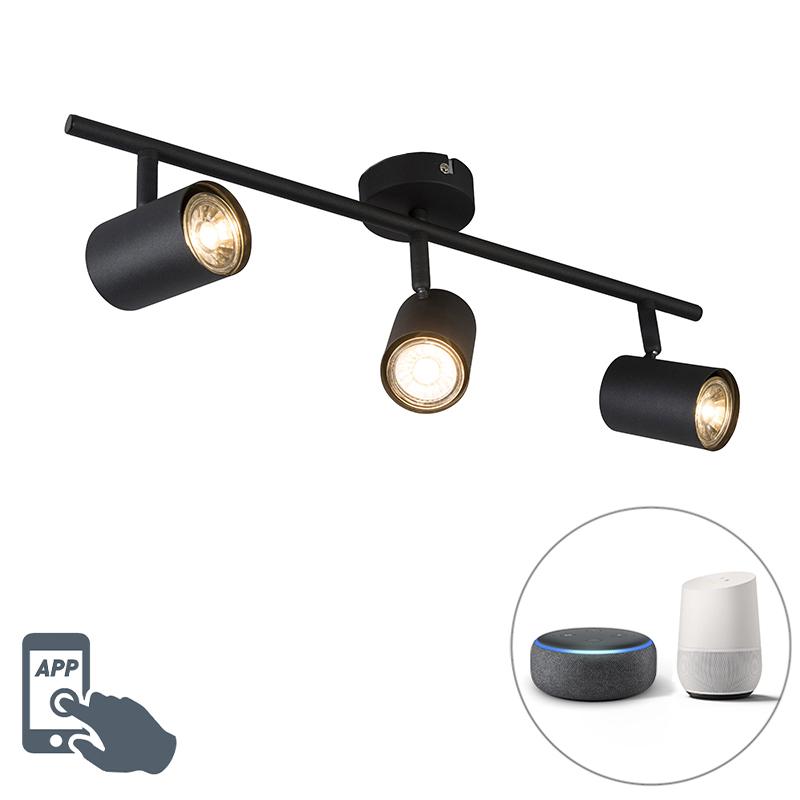 Industriële smart spot zwart kantelbaar incl. Wifi GU10 - Jeana 3