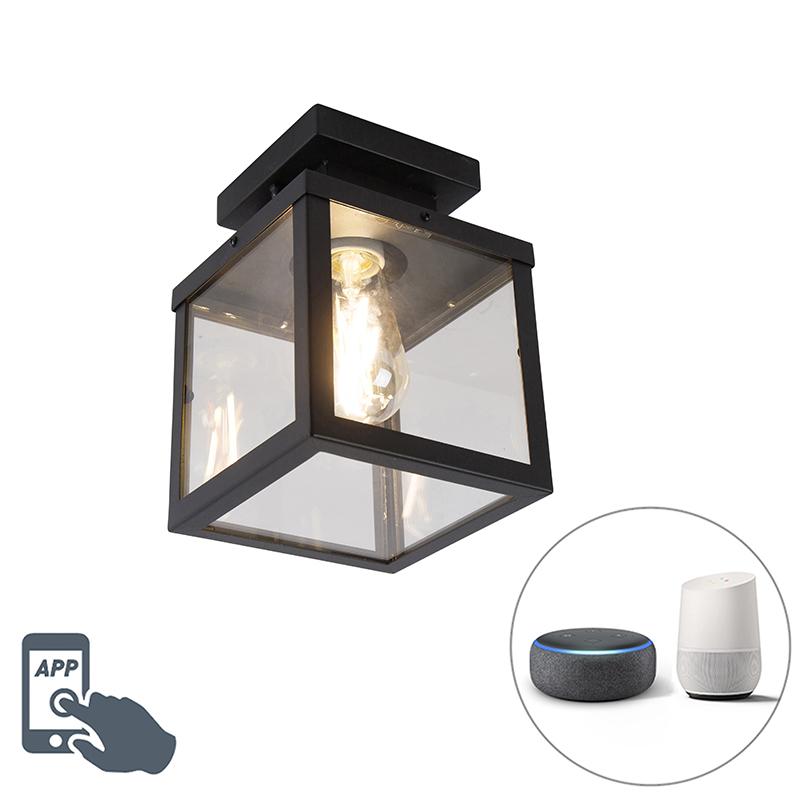 Industriële smart buitenplafondlamp zwart incl. ST64 Wifi - Rotterdam