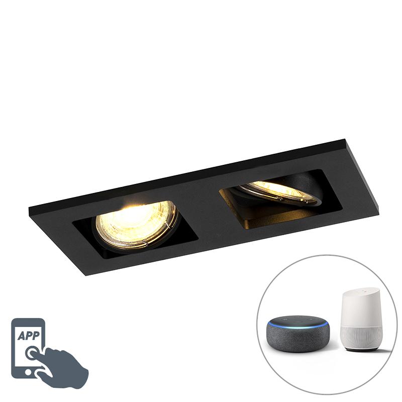 Moderne smart inbouwspot zwart incl. 2 Wifi GU10 - Qure