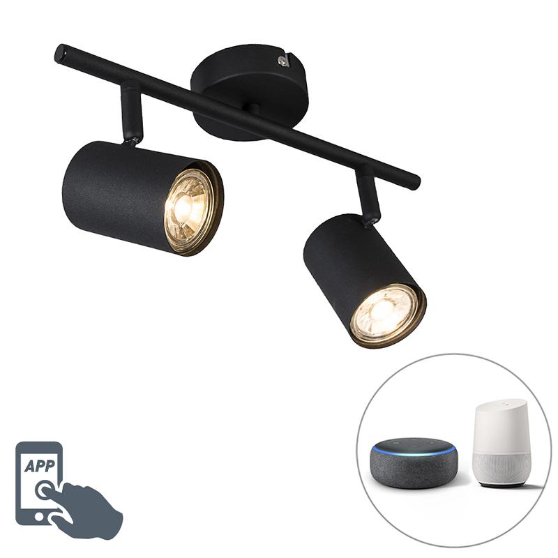Smart spot zwart kantelbaar incl. 2 WiFi GU10 - Jeana 2