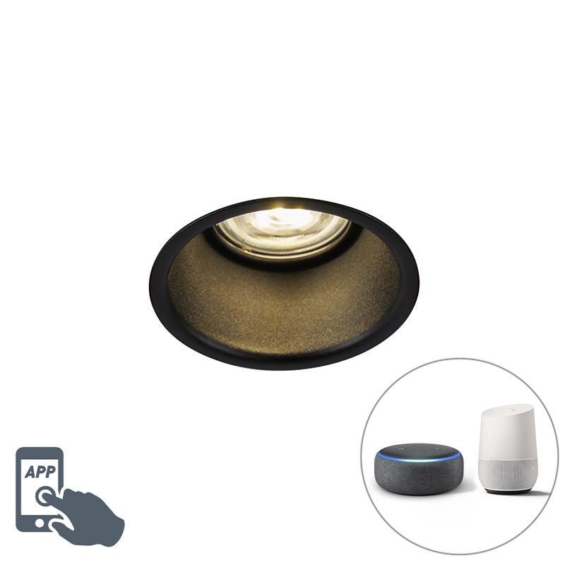 Moderne smart inbouwspot zwart incl. WiFi GU10 - Dept