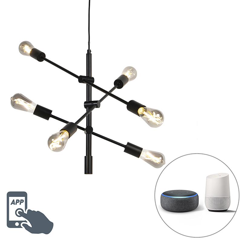 Smart industriële hanglamp zwart incl. 6 WiFi ST64 - Sydney