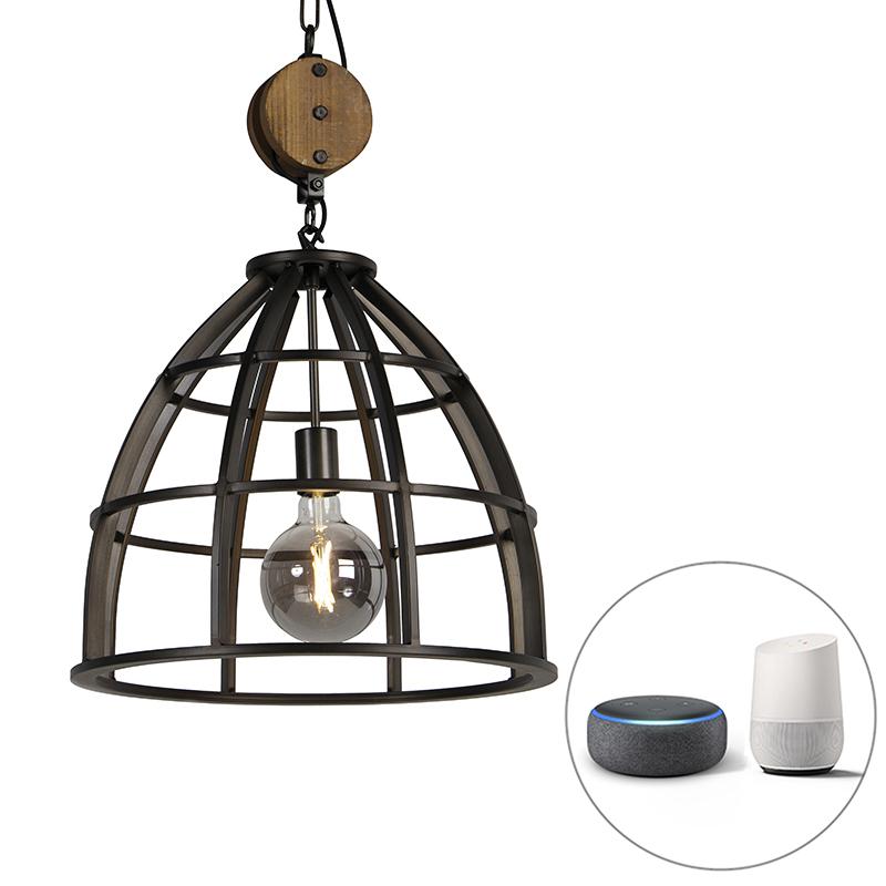Industriële smart hanglamp zwart 47 cm incl. WiFi G125 - Arthur