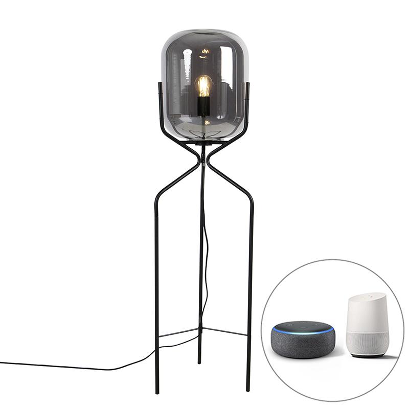 Smart vloerlamp zwart incl. WiFi A60 smoke glas - Bliss