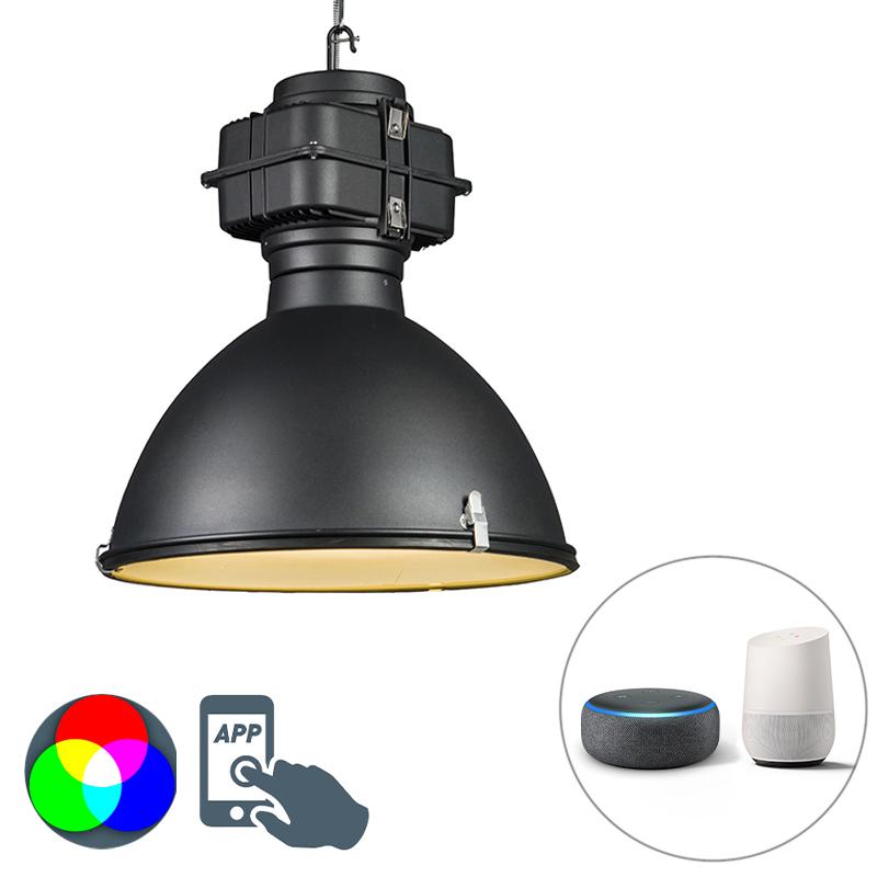 Smart industri�le hanglamp zwart 53 cm incl. A60 Wifi - Sicko