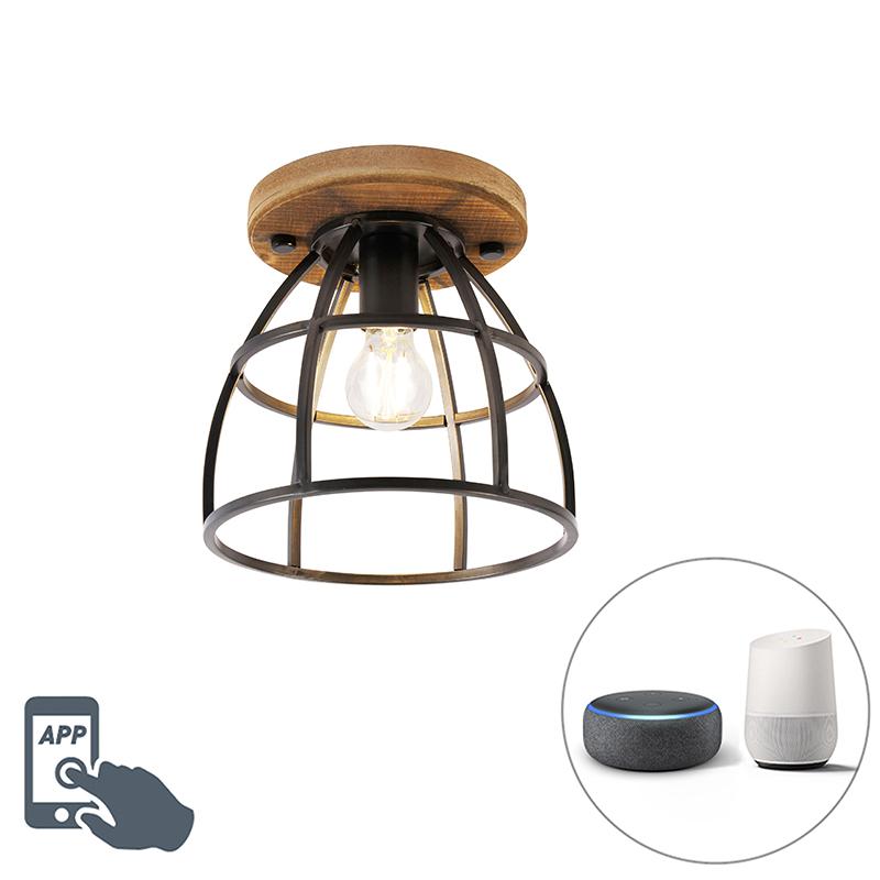 Smart plafondlamp zwart met hout incl. WiFi E27 - Arthur
