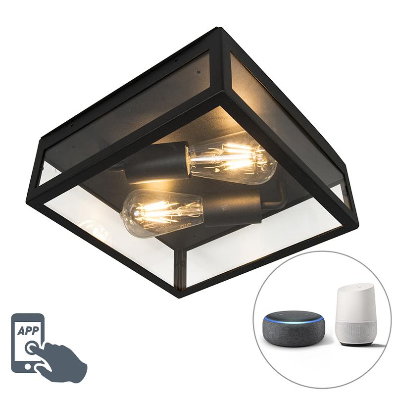 Inteligentna zewnętrzna lampa sufitowa czarna, w tym 2 WiFi ST64 - Rotterdam