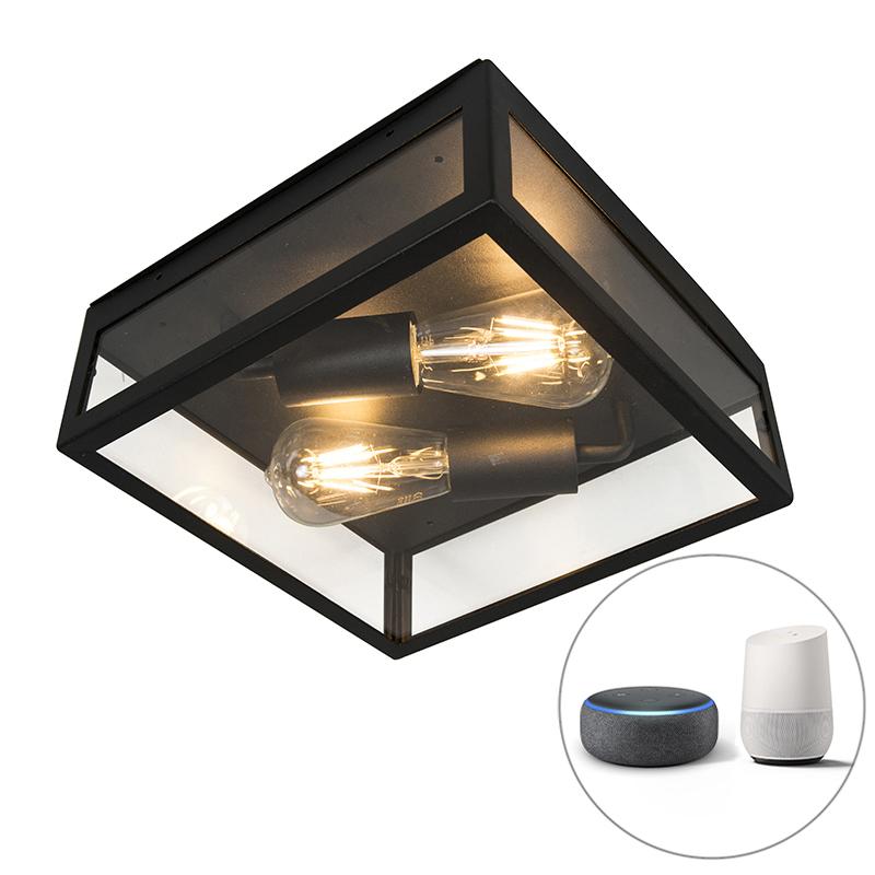 Industriële smart buitenplafondlamp zwart incl. 2 WiFi ST64 - Rotterdam