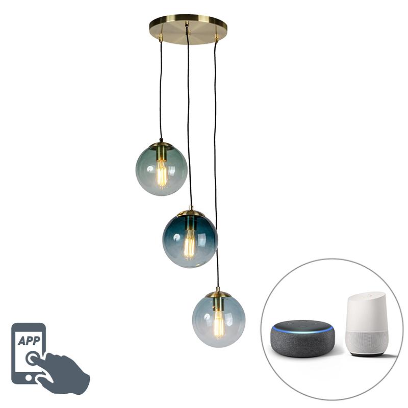 Smart hanglamp messing incl. 3 WiFi ST64 met blauw glas - Pallon