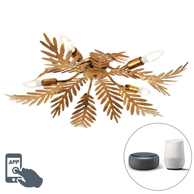 Vintage Smart plafondlamp goud incl. 5 WiFi E14 - Botanica