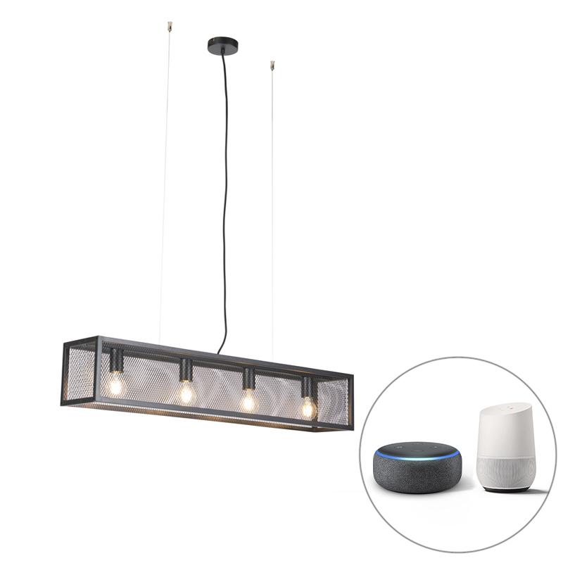 Smart industriële hanglamp zwart incl. 4 WiFi A60 - Cage
