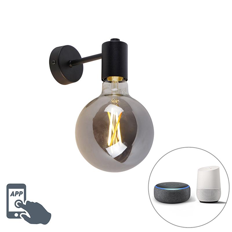 Inteligentné nástenné svietidlo čierne vrátane dymového skla WiFi G125 - Facil 1
