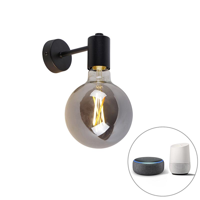 Smart wandlamp zwart incl. WiFi G125 smoke glas - Facil 1