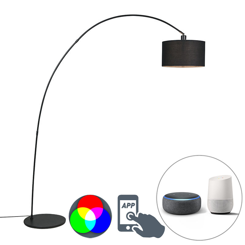 Smart moderne booglamp zwart incl. A60 Wifi - Vinossa