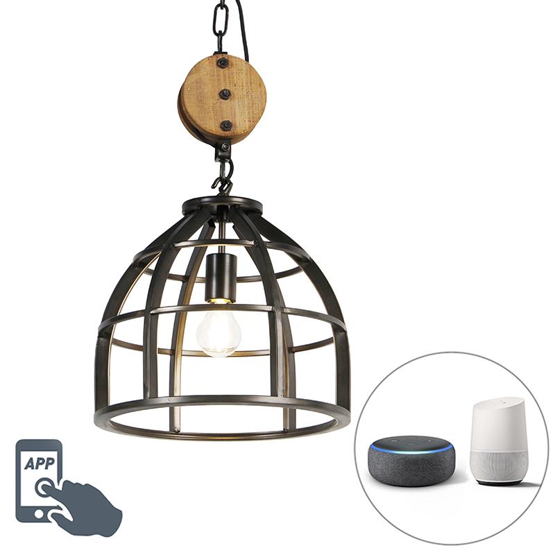 Smart hanglamp zwart 34,5 cm incl. WiFi A60 - Arthur