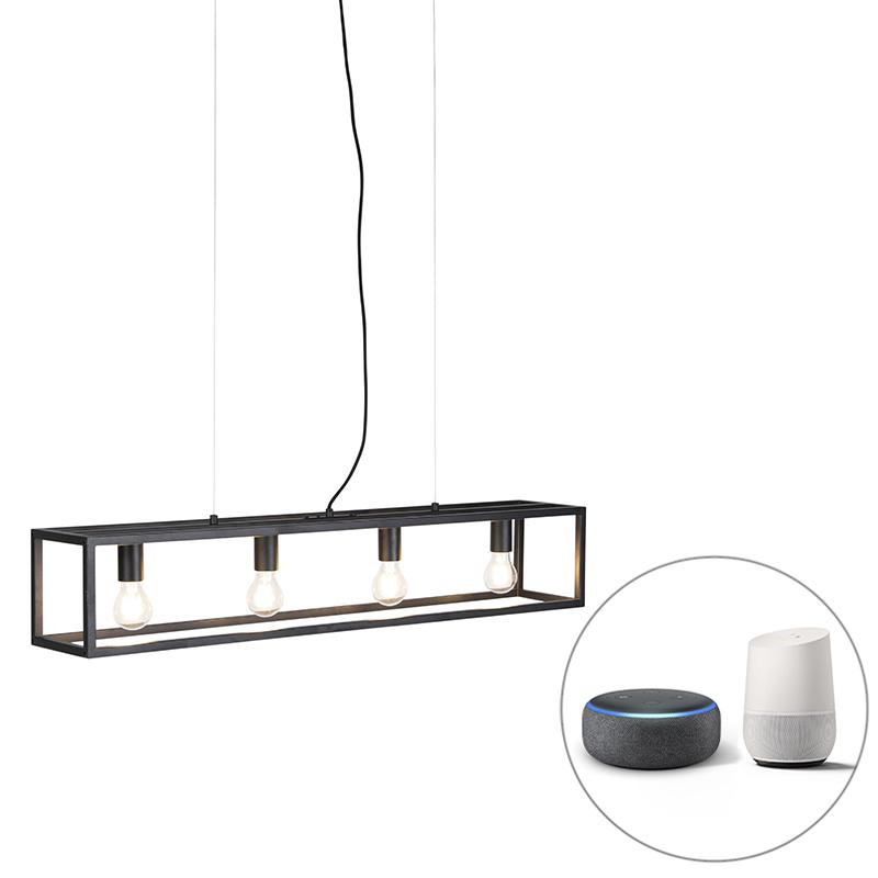 Smart industriële hanglamp zwart incl. 4 WiFi A60 - Cage 4