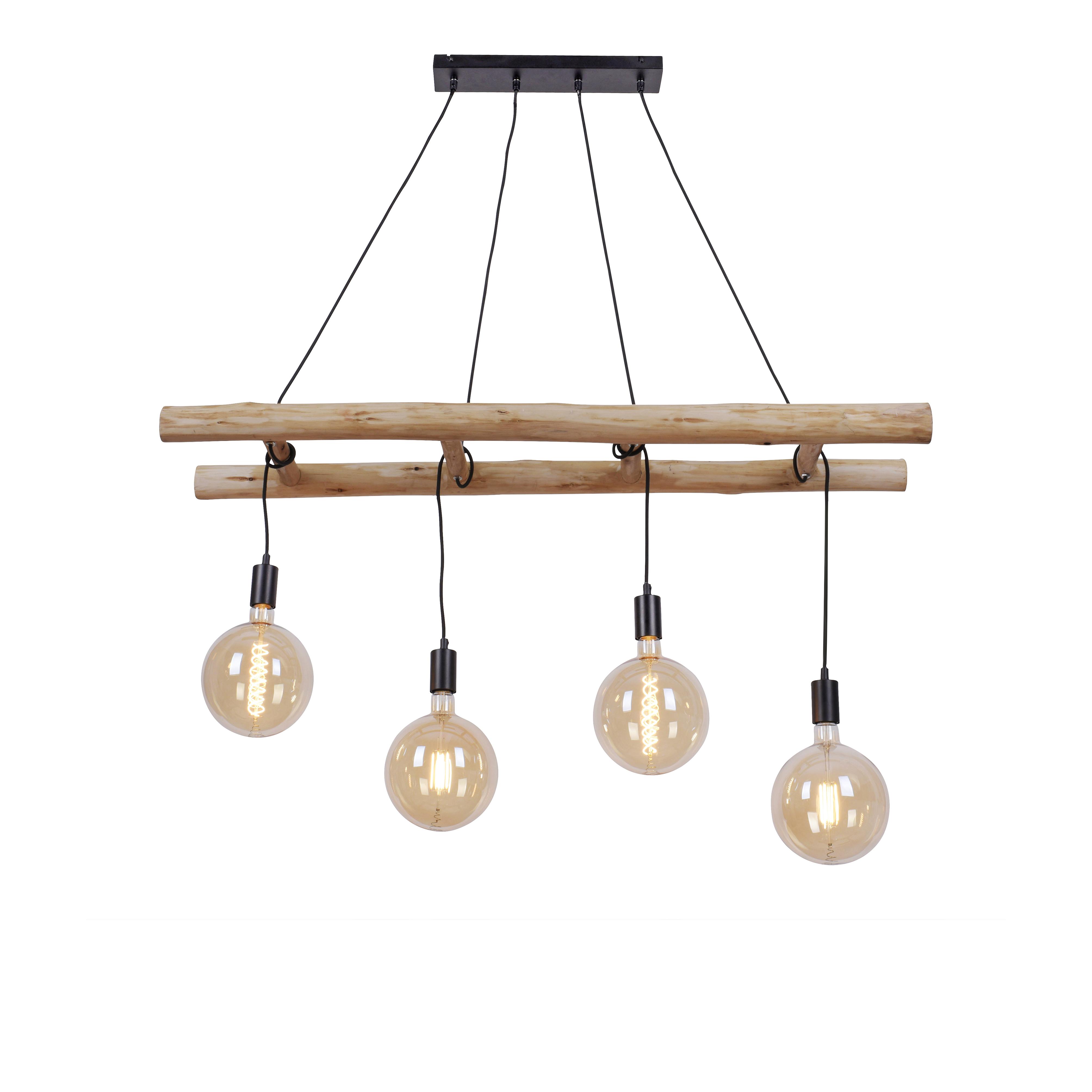 Landelijk hanglamp hout 4-lichts - Scala
