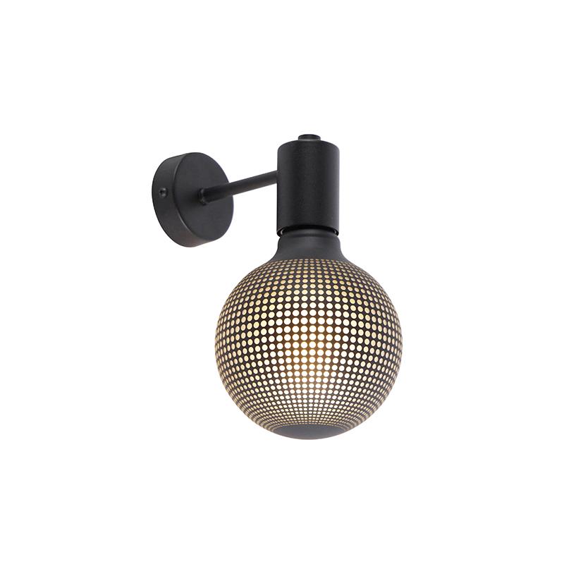 Industriële wandlamp zwart incl. G125 DECO 100lm - Facil 1